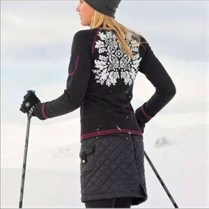 Athleta Quilted Black Snow Stomper Mini Skirt
